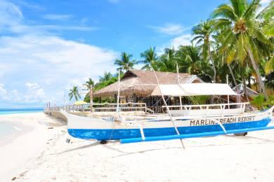 【zoomバーチャル背景対応】バンタヤン島のビーチとヤシの木 (Bantayan island)
